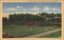 Golf Course and Club House, Ovean View Postcard
