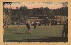"""Beautiful Water Hazard"" Southern Pines Country Club and Golf Course Postcard"
