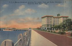 Murray Boulevard, Fort Sumter Hotel and Docks Postcard