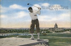 """Spirit of Pierre"" South Dakota State Capitol in Distance, Golf Course of Pierre Country Club Postcard"