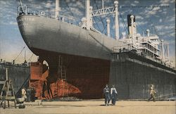 Ship Being Repaired in Dry Dock