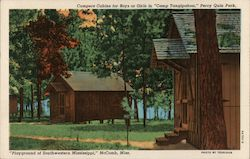 "Campers Cabins for Boys of Girls in ""Camp Tangipahoa,"" Percy Quin Park, ""Playground of Southwestern Mississippi"""