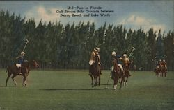 Polo in Florida Gulf Stream Polo Grounds Between Delray Beach and Lake Worth Postcard