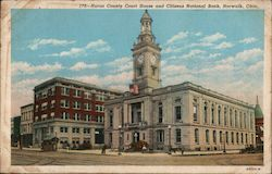 Huron County Court House and Citizens National Bank Postcard