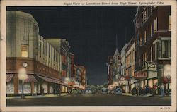 Night View of Limestone Street from High Street, Springfield, Ohio