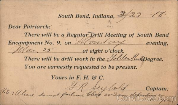 Regular Drill Meeting Announcement Card South Bend Indiana