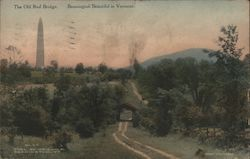 The Old Red Bridge Bennington, VT Postcard