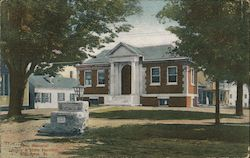 Pette Memorial Library and Stone Fountain Postcard