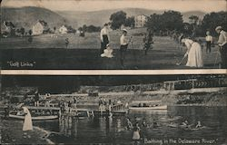 "Bathing in the Delaware River, ""Golf Links"" Postcard"