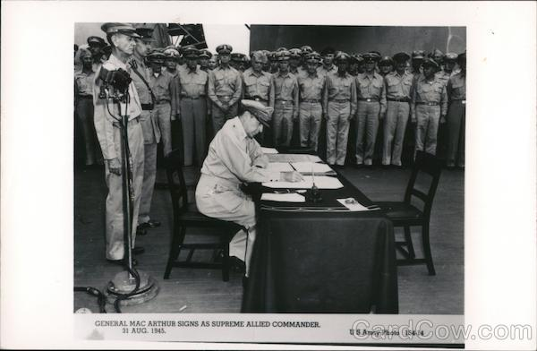General MacArthur Signs As Supreme Allied Commander Tokyo Bay Japan