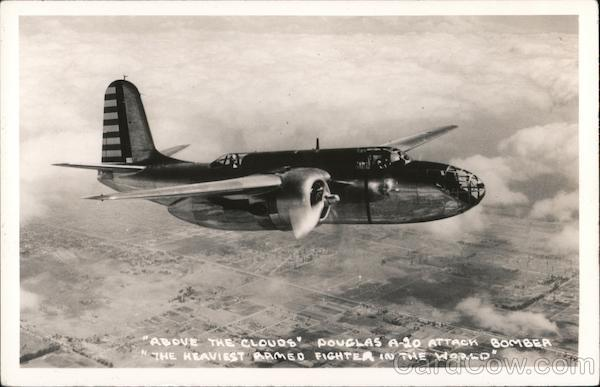 Above the Clouds Douglas A-20 Attack Bomber Aircraft