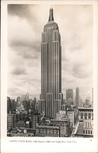 Empire State Building,102 Stories-1250 Feet High New York City