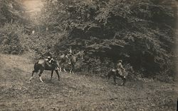 Reenactment Actors on Horses Postcard