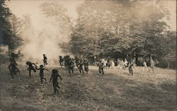 Indians Running From Soldiers in Reenactment Scene Postcard