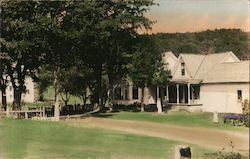 President Coolidge Boy Hood Home, Hand Tinted Postcard