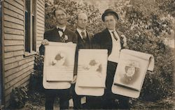 Three Men Holding Portraits of Women