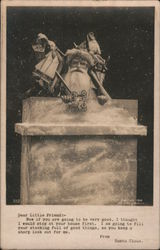 Santa emerging from chimney Postcard