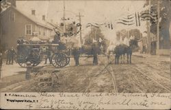 Horse Pulled Fire Engine Postcard