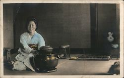 Asian Woman Cooking Postcard