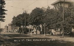 Main Street and Mishawaka Hotel Postcard