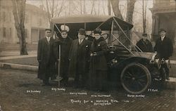 Ready for a Morning Ride - Billy Sunday on Crutches, Old Car Postcard