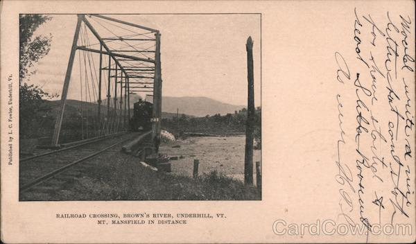 Railroad Crossing, Brown's River, Mt. Mansfield in Distance Underhill Vermont