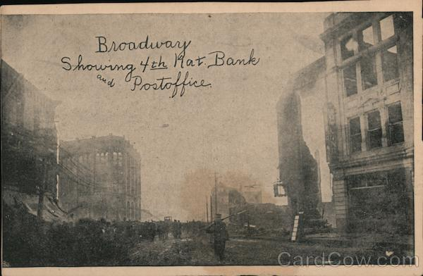 Broadway Showing 4th Nat. Bank and Postoffice Chelsea Massachusetts
