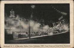 1909 - Court House and Grand Street Illuminated in Gala Attire, Hudson-Fulton Celebration