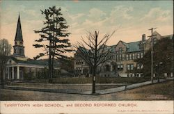 Tarrytown High School and Second Reformed Church Postcard
