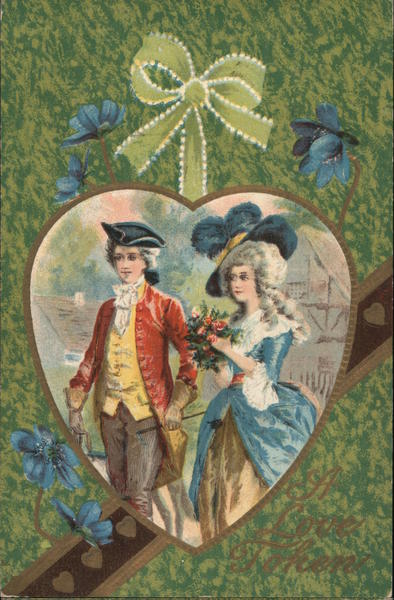Colonial Couple in Heart Frame Couples