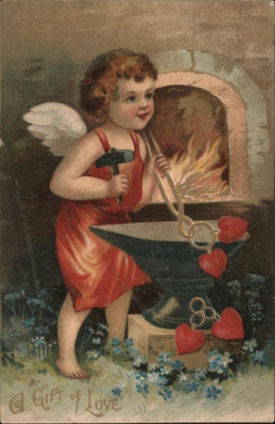A Gift of Love - Cupid Making Hearts