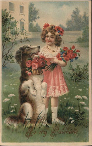 To My Valentine - A Girl and a Dog with Flowers Miscellaneous