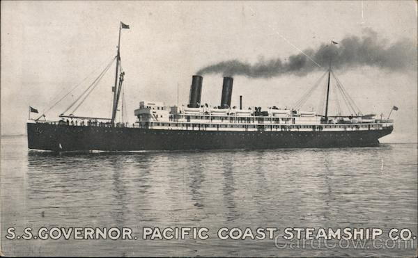 S.S. GOVERNOR. PACIFIC COAST STEAMSHIP CO. Boats, Ships