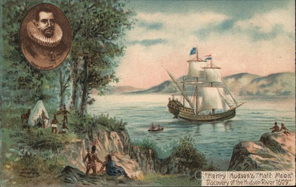 Henry Hudson's  Discovery of the Hudson River - A Boat Floating Down the River