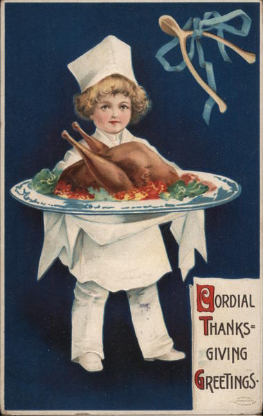 Cordial Thanksgiving Greetings - A Child Holding a Cooked Turkey