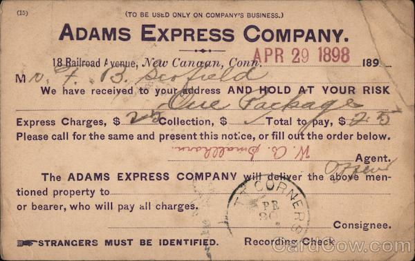 Adams Express Company New Canaan Connecticut