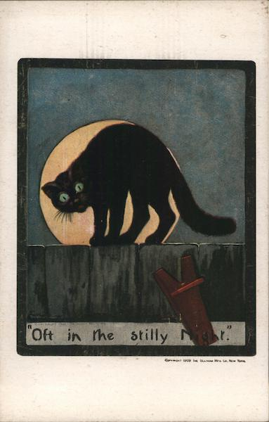 Black Cat On Fence With Full Moon In Background Cats