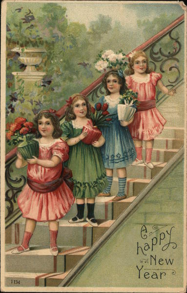 A Happy New Year - Four Girls on the Stairs Children