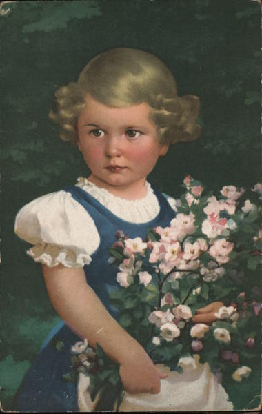 A Young Girl with Flowers Girls