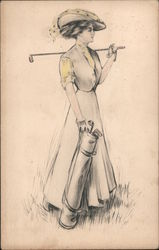 A Woman Holding Golf Clubs