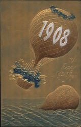 A Happy New Year 1908 Postcard