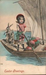Easter Greetings - A Boy Rowing a Boat with Bunnies