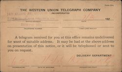 Notification of telegraph undelivered