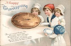 A Happy Thanksgiving - Four Young Children Around a Pie