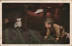 "Boy Playing With Toys on Floor ""One of Us Must Die"" Postcard"