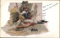 Women Frightened in the Woods Postcard