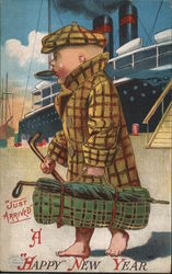 A Happy New Year - A Boy Carrying Golf Clubs Postcard