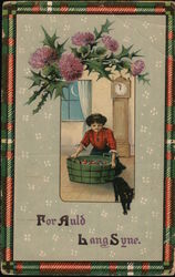 "Woman with barrel of apples and black cat: ""For Auld Lang Syne"""