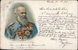 A Man with a White Beard in a Decorated Soldier's Uniform Postcard