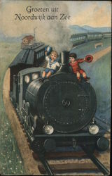 Two Children Sitting on a Black Train